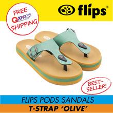 ★RESTOCK★[Flips™]★OLIVE T-Strap Flips Pods Sandals/Unisex Sandal/Contoured Footbed/Comfort Sandals