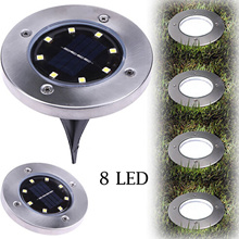 8 LED Solar Power Buried Light Under Ground Lamp Outdoor Path Way Garden Decking Warm/Cold White Yar