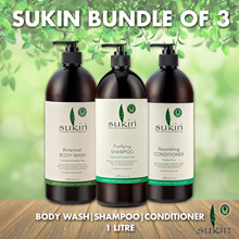◆BUNDLE OF 3◆SUKIN BODY WASH | SHAMPOO | CONDITIONER 1 LITRE