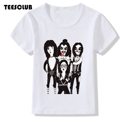 0a915fb615372 store Girl Tops 2018 New Stormtroopers Fan Kiss Rock Band Print T shirt  Children Summer Short Sleeve