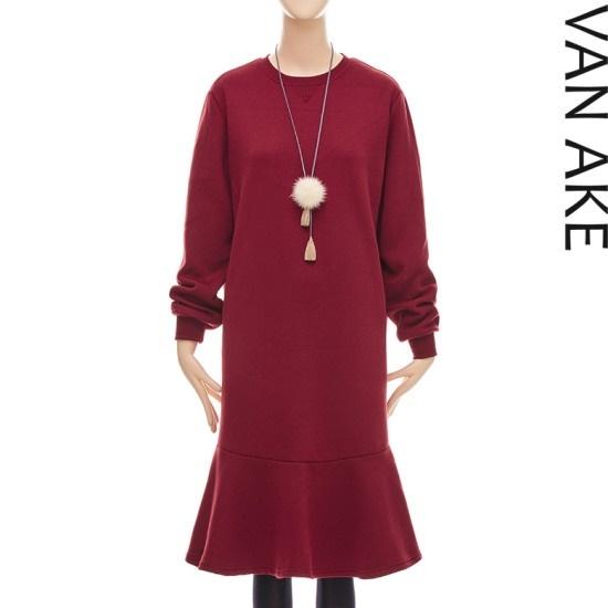 バンエイクペプラム起毛ワンピースV7W1OP4571 面ワンピース/ 韓国ファッション