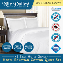 Nile Valley 800TC Hotel Egyptian Cotton Quilt Set. 1 Fitted Sheet + 1 Quilt Cover + Pillow Cover