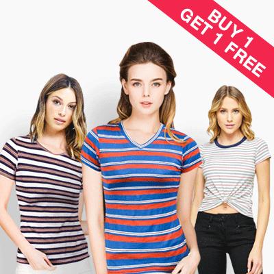 PROMO T-shirt Women colors stripe BUY 1 GET 1/19 Daily pattern shirt fit body/