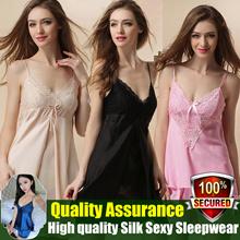 81f84a85d1 High quality Ladies 100% Silk Sexy Sleepwear Two-piece set pyjamas  Nightdress gown dress