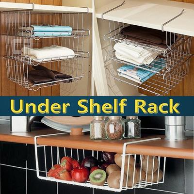 qoo10 under shelf basket organizer hanging hook rack. Black Bedroom Furniture Sets. Home Design Ideas