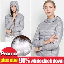Winter Ultra Light Down Jacket 90% Duck Down Hooded Jackets Long Sleeve Warm Slim Coat