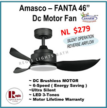 [2018 Sale ] AMASCO FANTA 46 inches DC MOTOR Fan LED 3-TONES+ 6-SPEED Remote control DC FAN
