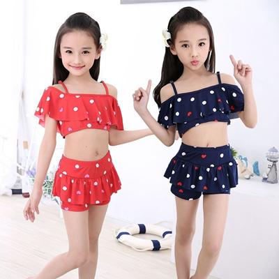 9ce2db4e007 Cute Polka Dot Girls Swimming Clothes Girls Swimwear 2 Pieces Bikini Beach  Dress Bathing Suit Toddle
