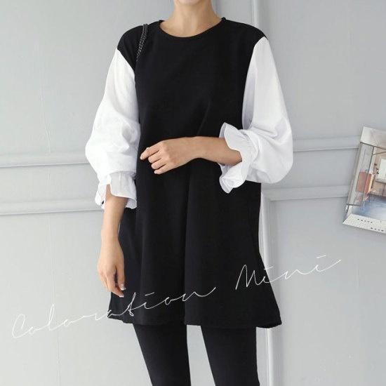 オーサムルマー配色ミニワンピース232030 綿ワンピース/ 韓国ファッション