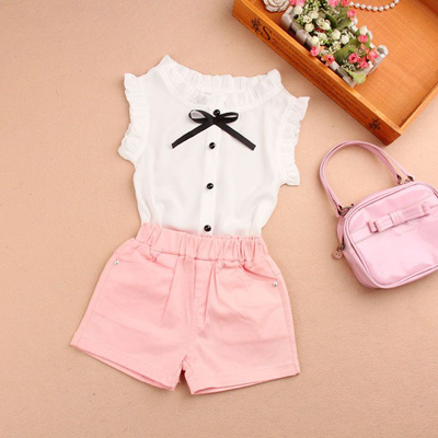 f16ab72e406c shop New 2017 Summer Chiffon White Child Girls Tops And Blouses Short Sleeve  Bow Baby Teenage