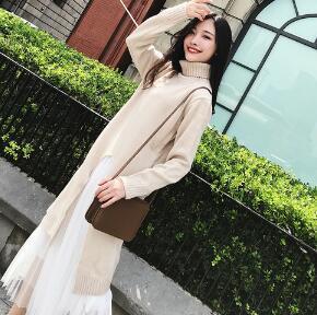 [55599SHOP]してハイネックしてワンピースが 韓国ファッション ワンピース ニット