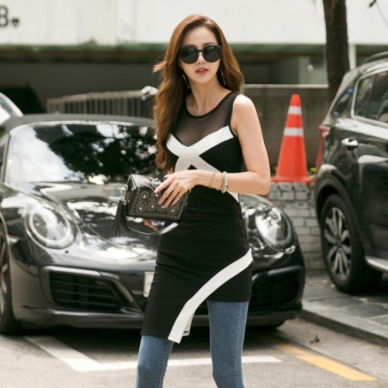 レドゥオピンシークラインワンピース 綿ワンピース/ 韓国ファッション