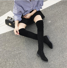 Over knee boots long boots female winter Section 2017 flat bottom low heel hundred to increase the a