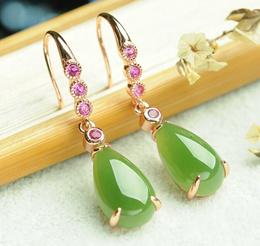 Hetian Biyu Drop Earrings 925 Silver Inlay Jade and Tianyu Female Earrings Stud Earrings