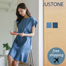 [JUSTONE🍓] Hazel Drop Shoulder denim dress / Free Shipping / Korean Fashion