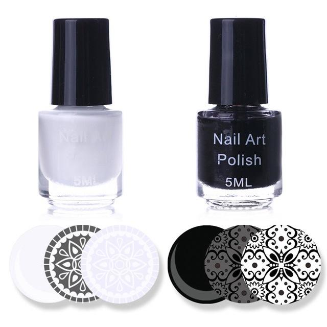 Qoo10 - sale White Black Color Nail Art Stamping Polish Set 5ml Nail ...