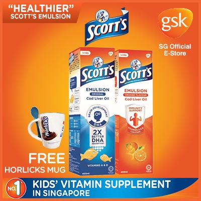 [GSK] Scotts Emulsion Original 400ml/ Orange 400ml!【GET HORLICKS MUG WITH