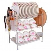 Metal 3 Tier High Quality Dish Drying Rack Bowl Tableware Drainer Kitchen Helper Multipurpose Storag
