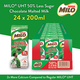 [[New item]] MILO UHT 50% Less Sugar Chocolate Malted Milk 24x200ml