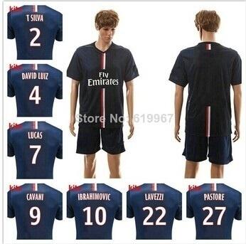 the best attitude c376f ff54b New 2014/15 Paris Saint Germain home blue soccer football jersey + shorts  kits best quality PSG socc