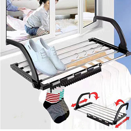 Clothes Drying Rack - Foldable Folding Towel Laundry Hanger Hanging over Door Balcony Window Fence