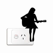 Wall Stickers - Pretty Girl Playing Guitar Silhouette Vinyl Decal Light Switch Wall Mural  - Home De