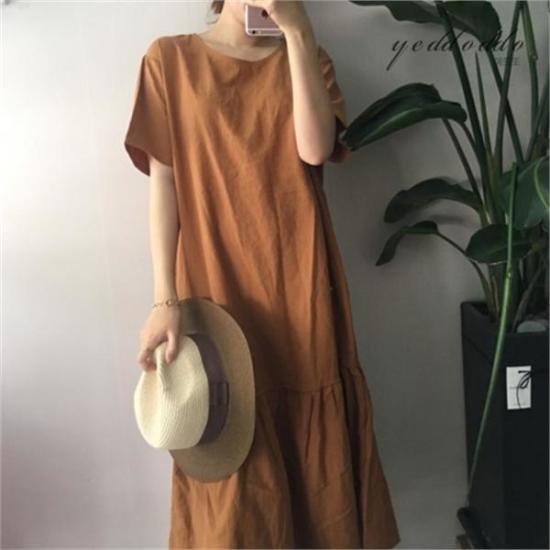はいトト行き来するようにはいトトベイリンネンワンピース プリントのワンピース/ 韓国ファッション
