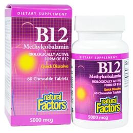 Natural Factors B12 Methylcobalamin 5000 mcg 60 Chewable Tablets