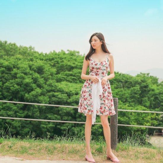 ロロテンウォンチュフラワーops プリントのワンピース/ 韓国ファッション