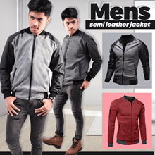 ★★★ BEST SELLER ★★★ Local brand Men semi leather jacket - Black - Gray color | - Big size ready
