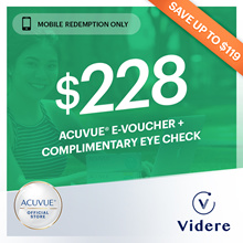 Videre x ACUVUE® Dailles Kit at $189 ◆ Complimentary Eye Check ◆ GWP $20 value Grab ride!