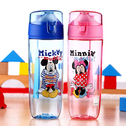 Disney childrens cup/Cute cartoon with cover with hang rope summer outdoor portable cup