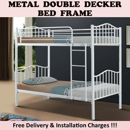 [Promotion] New Arrival !! Detachable Metal Double Decker Bed Frame In White N Silver Colour !!!