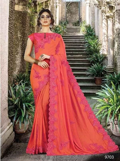 3bf5812e71 Tradition Orange Designer Embroidered Bollywood Style Sari Silk Party Wear  Saree [CBW]
