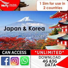 Japan+Korea Sim card: NEW#  4G LTE UNLIMITED Data 8/10/14 days.1 Sim use in 2 countries