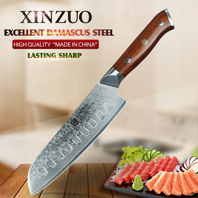 Xinzuo 7 Inch Japanese Chef Knife Damascus Steel Kitchen Knife Professional Santoku Knife For Hotel