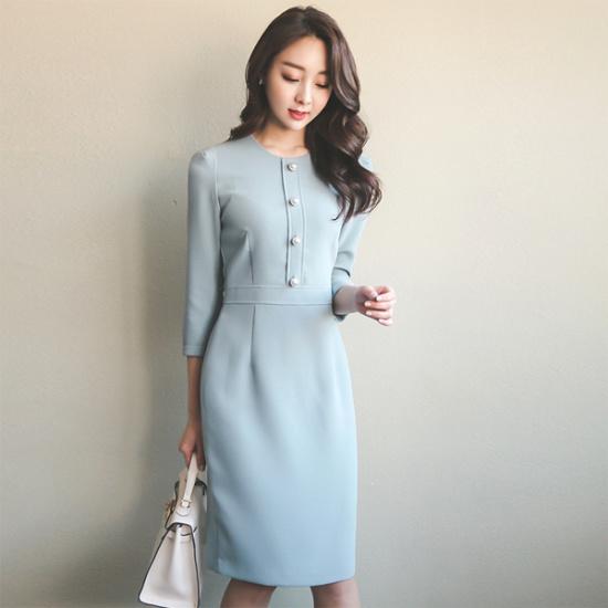 オッドラグジュアリースリムフィット晋州ボタンワンピースDRH362 スーツワンピース/ 韓国ファッション