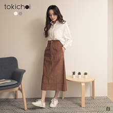 TOKICHOI - Simple Pocket Breasted Cotton Blouse Top-191617