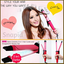 Nova Professional 2 In 1 Hair Curler and Straightener with Temperature Control NHC1818SC