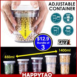 Adjustable Airtight Container Push Down Bottle Kitchen Storage Jars Save Space Keep Food Fresh