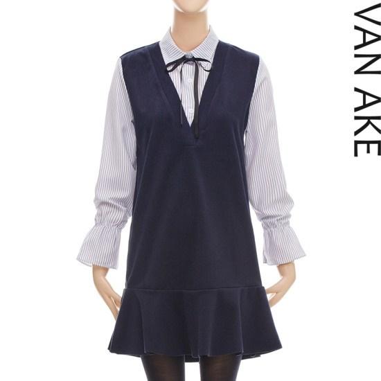 バンエイクシャツカラ配色ワンピースV7W1OP4561 面ワンピース/ 韓国ファッション
