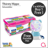 [RB]【Buy 1 FREE 1】Thirsty Hippo Dehumidifier 600ml x 3 |Stocks from Singapore