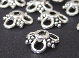 Silver Bead caps jewellery making DIY