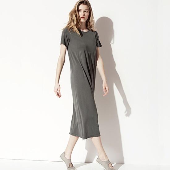 セカンドスキンモダルハーフ・スリーブルーズフィットロングドレスN7WSD4002 面ワンピース/ 韓国ファッション