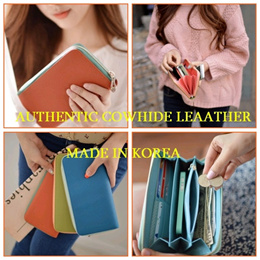 [Big Hit Item]Saffiano Authentic Cowhide Leather Zip Long Type Purse/Wallet/Bag/Smartphone Pouch/Clutch