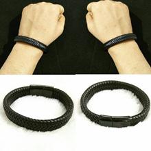 Gelang Kulit Anyam Polos hitam Magnet High Quality Pria Wanita 859555