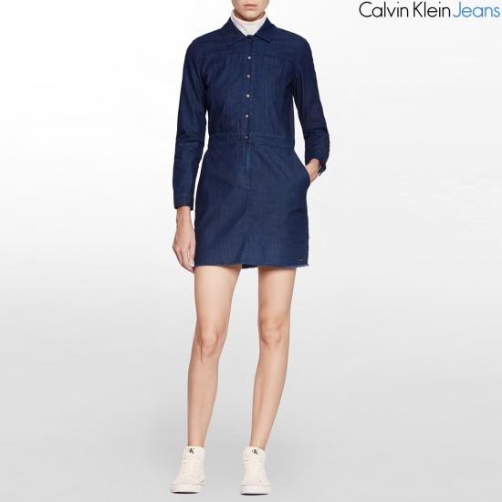 カルバン・クラインのジーンズ女性のデニムドレスJ206063 面ワンピース/ 韓国ファッション