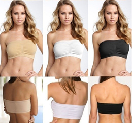 Seamless Strapless Removable Padded Bandeau Tube Top Free Clear Strap