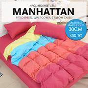 SOL HOME ® 4 PCS Bedsheet Set - Manhattan - 1 Fitted Sheet + 2 Pillow Cases + 1 Quilt Cover - Max Mattress Height 30CM