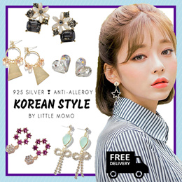 [925 SILVER] LITTLE MOMO ❤️ ANTI-ALLERGY EARRINGS ❤️ KOREAN DESIGNS